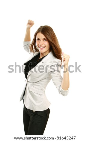 A smiling businesswoman with hands up, isolated on white background - stock photo