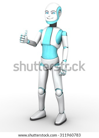 A smiling cartoon robot boy doing a thumbs up with his hand. White background.