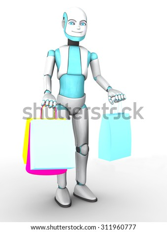 A smiling cartoon robot boy holding shopping bags in his hands. White background.
