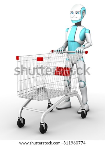 A smiling cartoon robot boy pushing an empty shopping cart. White background.