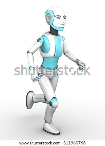 A smiling cartoon robot boy running. White background. - stock photo