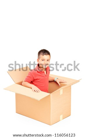 A smiling child in a cardbox isolated on white background