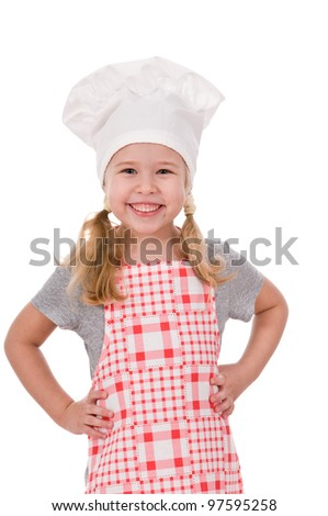a smiling girl chef isolated on white background - stock photo