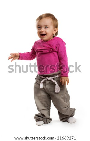 a smiling little girl on white background
