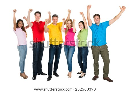 A Smiling Multiethnic Diverse People Cheering Over White Background