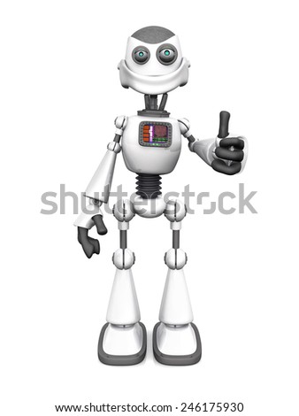 A smiling white cartoon robot doing a thumbs up with his hand. White background.