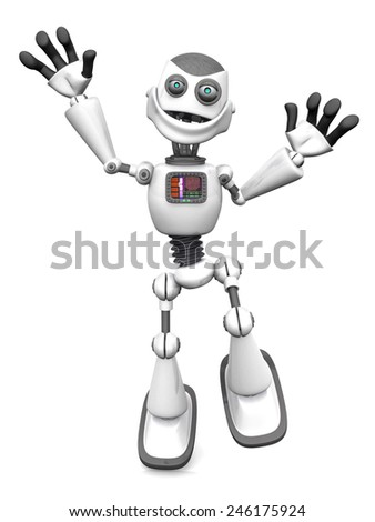 A smiling white cartoon robot jumping for joy. White background.