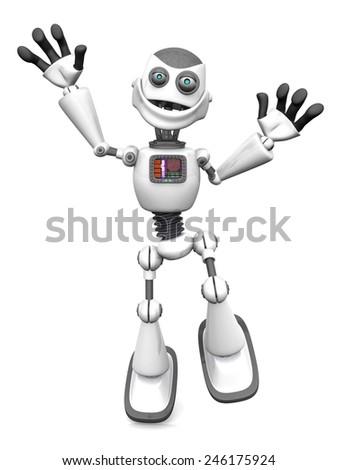 A smiling white cartoon robot jumping for joy. White background. - stock photo