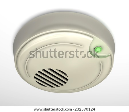 A smoke detector installed at a ceiling. Small depth of field. - stock photo