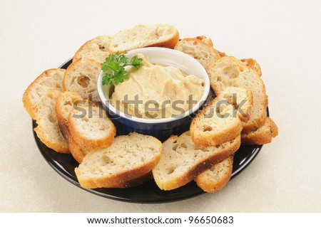 A snack plate of mini toasts and hummus dip
