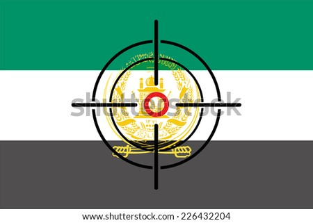A Sniper Scope on the flag of Afghanistan