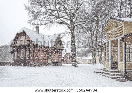 A snow covered house situated at ramlosa brunnspark on the outskirts of Helsingborg in Sweden. - stock photo