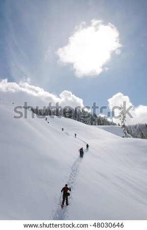 A snow shoe hiking view near Whistler, BC, Canada. - stock photo