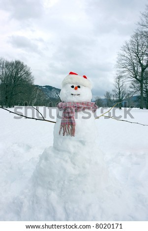 A snowman built in the snow with winter landscape background - stock photo
