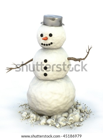 A snowman with a pot on his head is standing in the snow. - stock photo