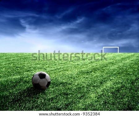 a soccer ball in stadium - stock photo