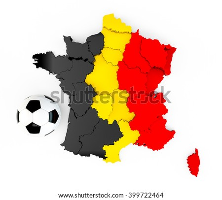 A soccer ball on a France map with a Belgian Belgium flag isolated on white background. 3D Rendering, 3D Illustration - stock photo