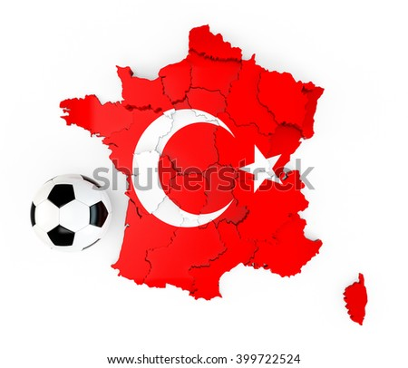 A soccer ball on a France map with a Turkey Turkish flag isolated on white background. 3D Rendering, 3D Illustration - stock photo