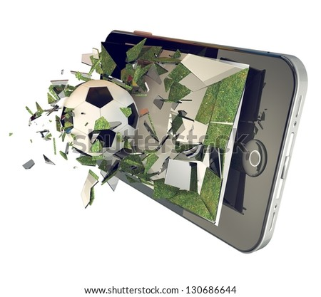 A Soccer ball on cell phone. Broken glass mobile phone with football - stock photo