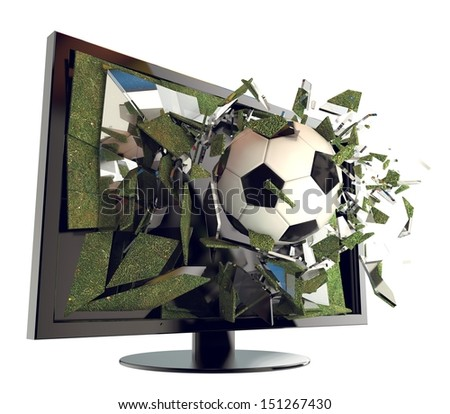 A Soccer ball on TV. Abstract 3d Broken glass of a television with football. Live football game broadcasting concept. Fun and exciting. - stock photo