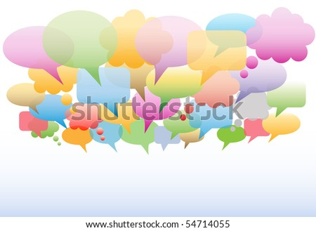 A social media cloud of many speech and thought bubbles translucent gradient colors as a background. - stock photo