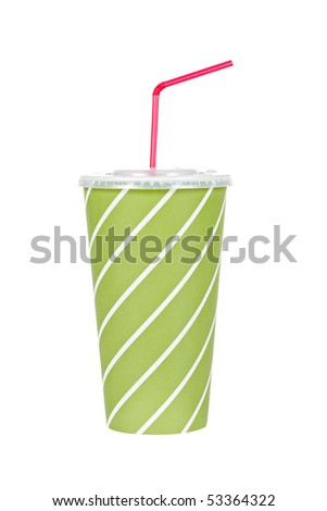 A soda drink with red straw, isolated on white background - stock photo