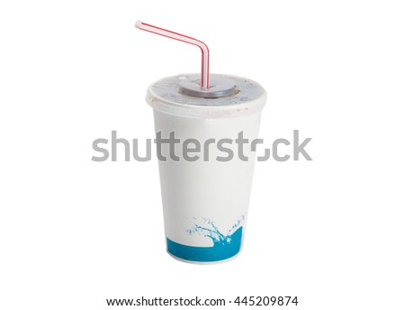 A soda fountain cup isolated on a white background