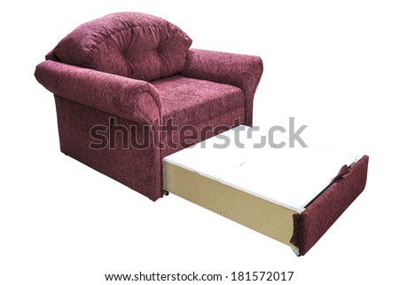 A sofa isolated on white background. A daybed couch on a white background