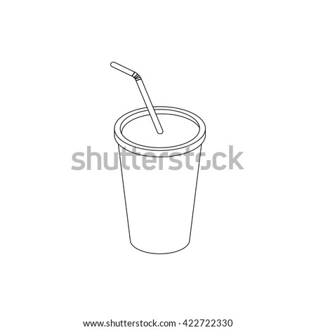 A soft drink in paper cup with lid and straw icon