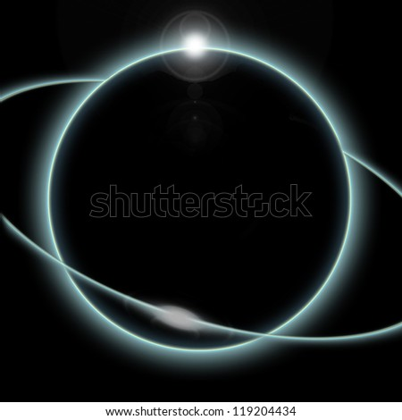 A solar eclipse of the moon as seen from space or the planet earth and blue ring - stock photo