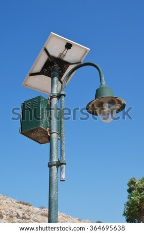 A solar powered street light at Emborio on the Greek island of Halki.