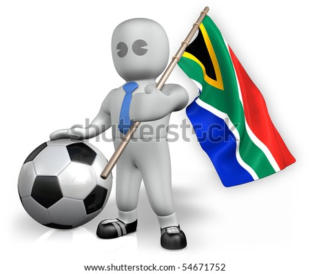 A South Africa football fan with a ball and a flag - stock photo