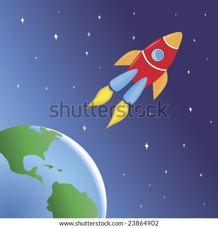 A space rocket flying out of the Earth. Catch it if you can!