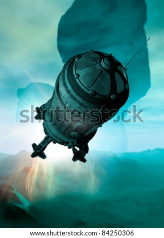 A Spaceship is seen landing on planet surface with a strange green light to the atmosphere. - stock photo