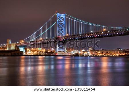 A span of the Ben Franklin Bridge in Philadelphia, Pennsylvania. - stock photo