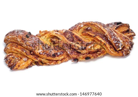 a spanish Trenza de Almudevar, a typical braided pastry, on a white background - stock photo