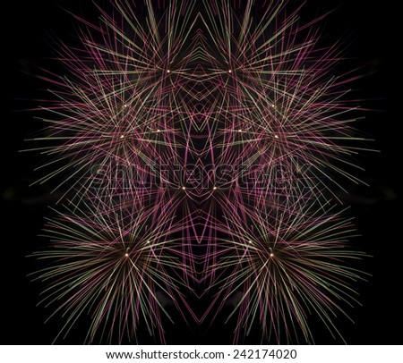 A Spark of black background - Computational graphic, Fireworks light up the sky with dazzling display, Fireworks set, fireworks, maltese fireworks festival, square photo  - stock photo