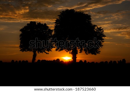 A spectacular landscape at sunset - stock photo