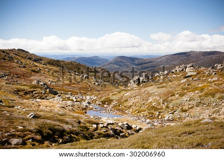 A spectacular view across the valleys on the Kosciuszko walk near the summit of Thredo in Snowy Mountains, New South Wales, Australia - stock photo