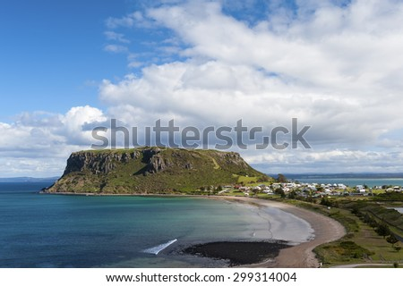 A spectacular view over The Nut in Stanley, Tasmania, Australia. Blue sky and white clouds. - stock photo