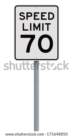 A speed limit sign indicating 70  - stock photo