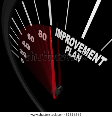 A speedometer with red needle pointing to the words Improvement Plan, symbolizing the drive and ambition necessary to change and improve in order to be successful in reaching goals in life or a career