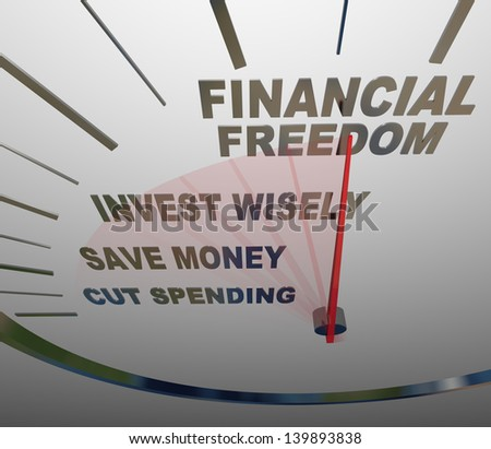A speedometer with the words Financial Security, Invest Wisely, Save Money and Cut Spending to illustrate the steps and advice to follow to build a nestegg and have economic security - stock photo