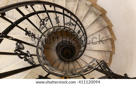 A spiral staircase leading to the dome of the Basilica of St. Stephen.Budapest - stock photo