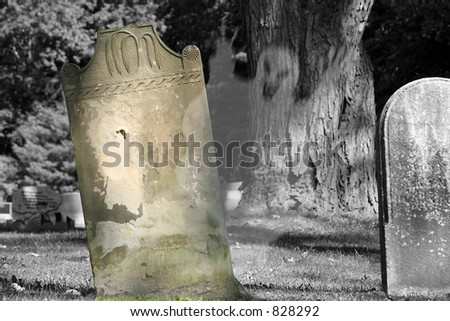 A spirit rising from an old grave in the graveyard. - stock photo