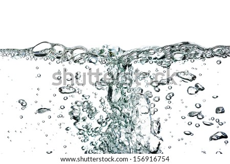 A splash of water,drops and bubbles on a white background. - stock photo