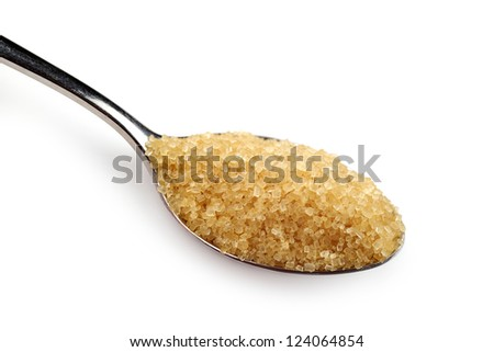 A spoonful of sugar on a white background