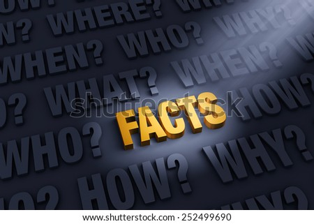 "A spotlight illuminates a bright, gold ""FACTS"" on a dark background filled with ""WHO?"", ""WHAT?"", ""WHEN?"", ""WHERE"", ""HOW?"", and ""WHY?""   - stock photo"