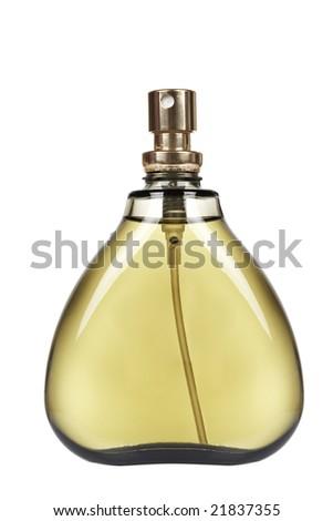 A spray bottle of parfum on white background - stock photo
