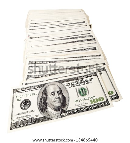 A spread-out pile of 100 US$ money notes isolated on white background. - stock photo